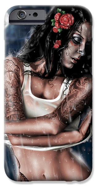 Art Nude iPhone Cases - Rain When I Die iPhone Case by Pete Tapang