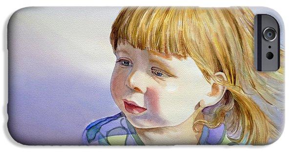 Toddler iPhone Cases - Rainbow Breeze Girl Portrait iPhone Case by Irina Sztukowski