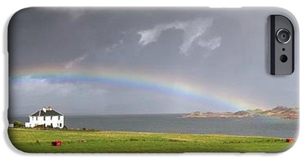 Field. Cloud iPhone Cases - Rainbow, Island Of Iona, Scotland iPhone Case by John Short