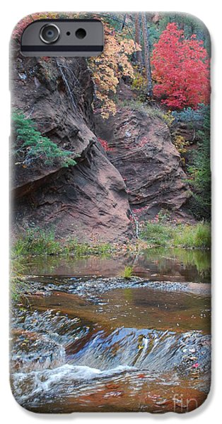 Sedona iPhone Cases - Rainbow of the Season and River over Rocks iPhone Case by Heather Kirk