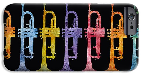 Trumpet iPhone Cases - Rainbow of Trumpets iPhone Case by Jenny Armitage