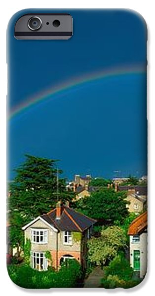 Rainbow Over Housing, Monkstown, Co iPhone Case by The Irish Image Collection