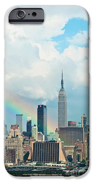 Empire State iPhone Cases - Rainbow over Manhattan iPhone Case by Regina Geoghan