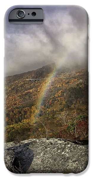 Rainbow over Rough Ridge - NC Autumn Scene iPhone Case by Rob Travis