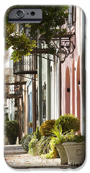 Bay Photographs iPhone Cases - Rainbow Row Charleston SC 2 iPhone Case by Dustin K Ryan