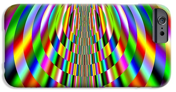 Red Abstract iPhone Cases - Rainbow Sun Rays Fractal 138 iPhone Case by Rose Santuci-Sofranko