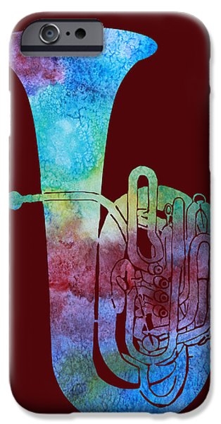 Marching Band iPhone Cases - Rainbow Tuba iPhone Case by Jenny Armitage
