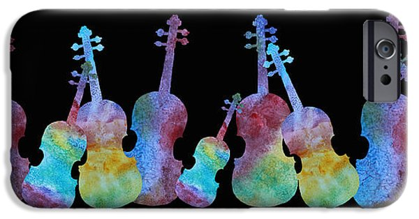 Violin iPhone Cases - Rainbow Washed Violins iPhone Case by Jenny Armitage