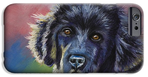 Animal Cards Pastels iPhone Cases - Rainbows and Sunshine - Newfoundland Puppy iPhone Case by Michelle Wrighton