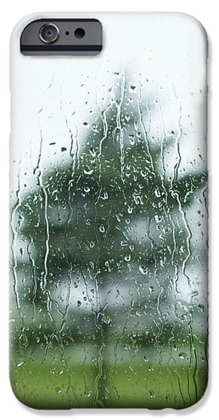 Rainy Day iPhone Cases - Raindrops On The Window With A Tree iPhone Case by Susan Dykstra