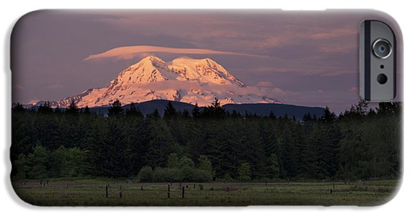 Mounted iPhone Cases - Rainier Dusk iPhone Case by Mike Reid