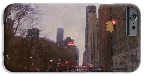 Nyc Rain iPhone Cases - Rainy City Street iPhone Case by Anita Burgermeister