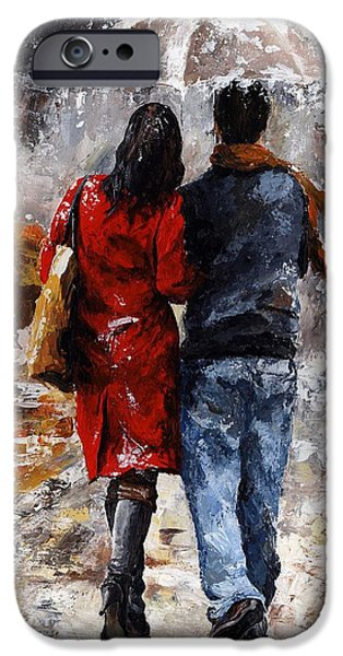 Togetherness iPhone Cases - Rainy day - Walking in the rain iPhone Case by Emerico Imre Toth