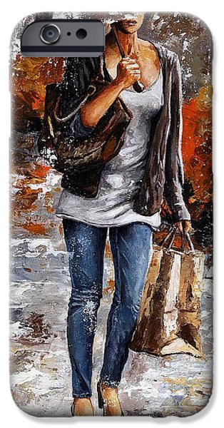 Nyc Rain iPhone Cases - Rainy day - Woman of New York 06 iPhone Case by Emerico Imre Toth