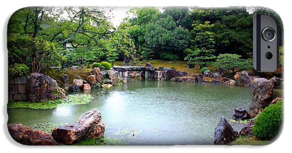 Rainy Day iPhone Cases - Rainy Day in Kyoto Palace Garden iPhone Case by Carol Groenen