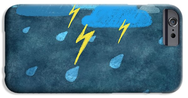 Rain iPhone Cases - Rainy Day With Storm And Thunder iPhone Case by Setsiri Silapasuwanchai