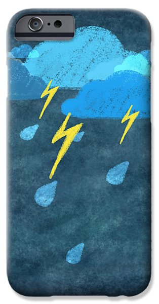 rainy day with storm and thunder iPhone Case by Setsiri Silapasuwanchai