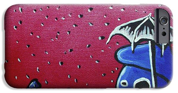 Rainy Day iPhone Cases - Rainy Day Zombie Mushrooms iPhone Case by Jera Sky