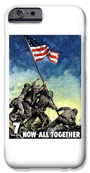 Americana iPhone Cases - Raising The Flag On Iwo Jima iPhone Case by War Is Hell Store