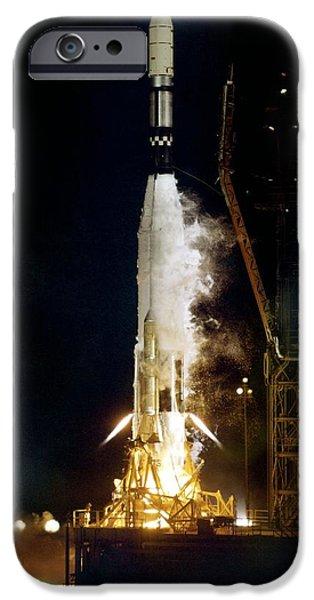 Aeronautical iPhone Cases - Ranger 1 Atlas-agena Rocket Launch iPhone Case by Nasavrs