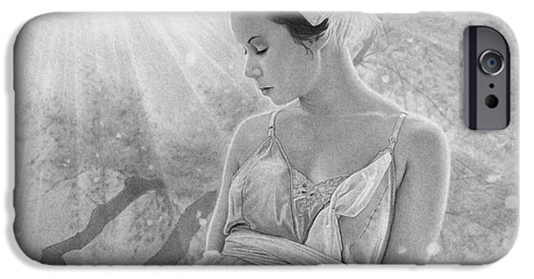 Pencil Portrait Drawings iPhone Cases - Rapture in the Light iPhone Case by Tim Dangaran