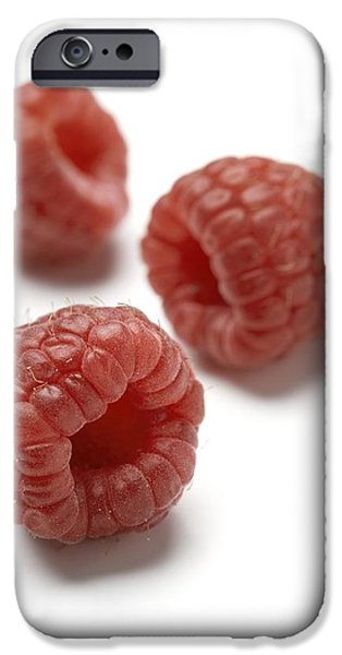 Cut-outs iPhone Cases - Raspberries iPhone Case by Jon Stokes