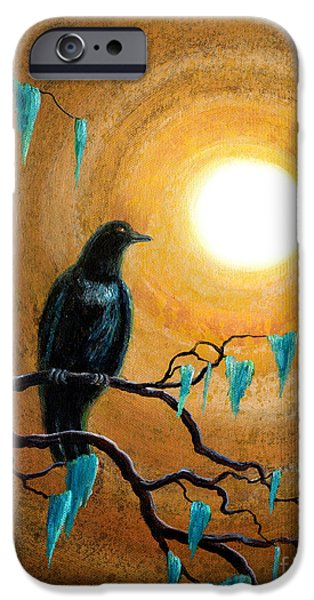 Crows iPhone Cases - Raven in Dark Autumn iPhone Case by Laura Iverson