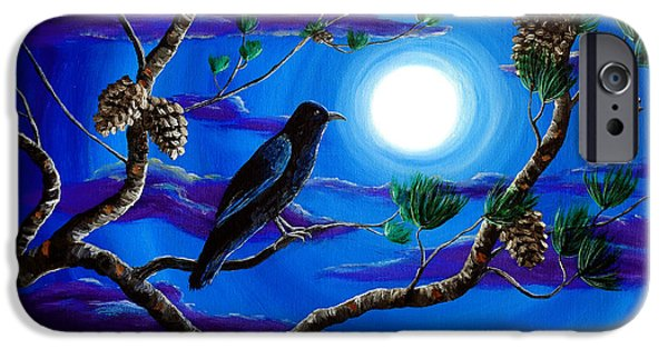 Moon iPhone Cases - Raven in Pine Tree Branches iPhone Case by Laura Iverson