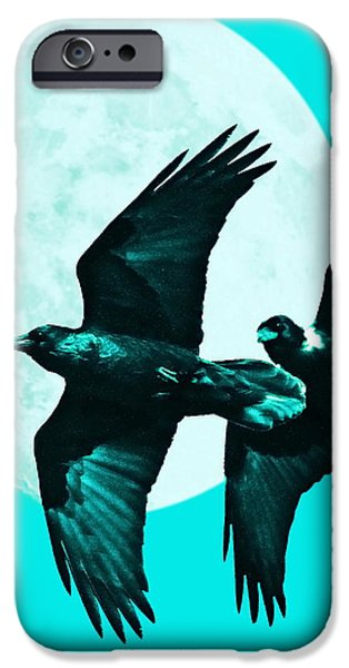 Ravens of the Moon . Cyan Square iPhone Case by Wingsdomain Art and Photography
