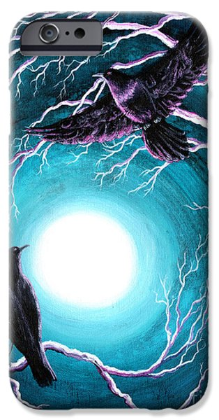 Crows iPhone Cases - Ravens on a Winter Night iPhone Case by Laura Iverson
