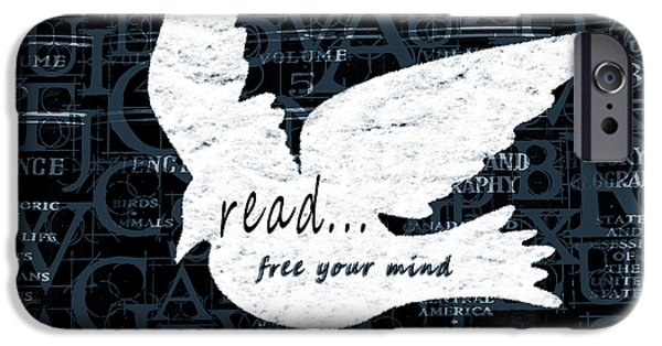 Read Free Your Mind Teal iPhone Case by Angelina Vick
