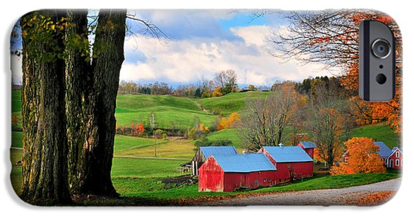 Barn Print Photographs iPhone Cases - Reading Vermont - Jenne Road iPhone Case by Thomas Schoeller