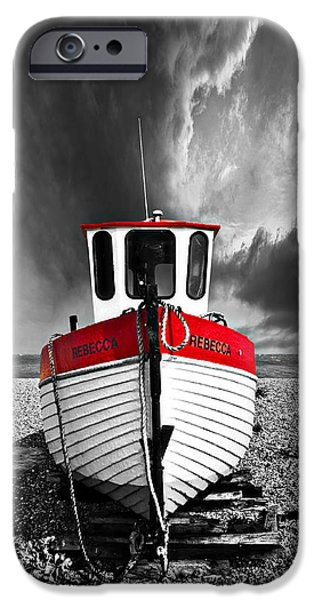 Drama iPhone Cases - Rebecca Wearing Just Red iPhone Case by Meirion Matthias