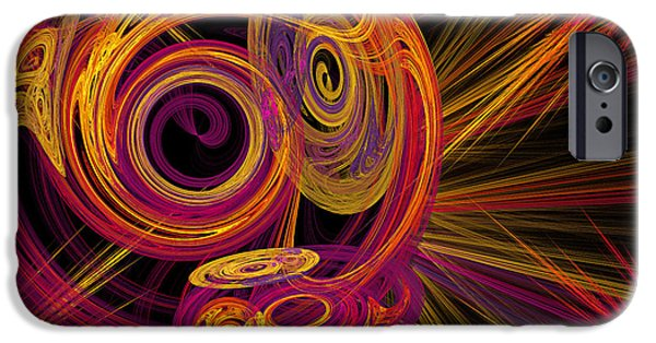 Fine Art Fractal iPhone Cases - Record Time Machine iPhone Case by Andee Design