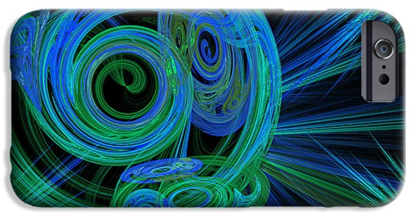 Fine Art Fractal iPhone Cases - Record Time Machine Green and Blue iPhone Case by Andee Design