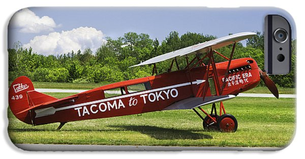 Aeronautics iPhone Cases - Red 1923 Fokker CIVA Vintage Biplane Photo Poster Print iPhone Case by Keith Webber Jr