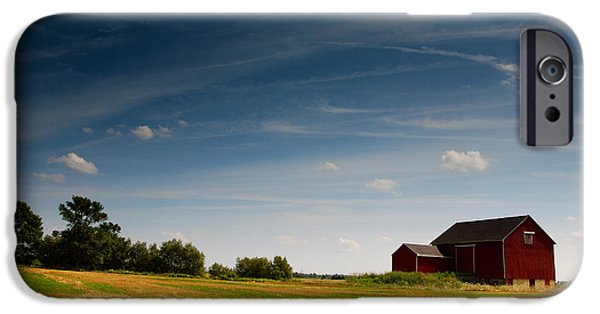 Crops iPhone Cases - Red Barn iPhone Case by Cale Best
