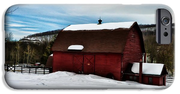 Red Barn In Winter iPhone Cases - Red Barn in the Snow iPhone Case by Bill Cannon