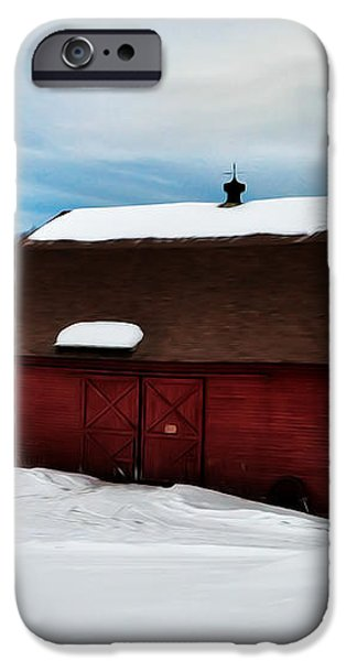 Red Barn in the Snow iPhone Case by Bill Cannon