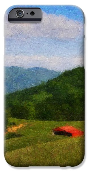 Red Barn on the Mountain iPhone Case by Teresa Mucha