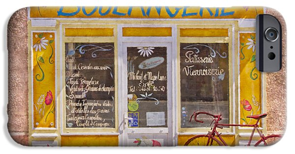 Charming Cottage iPhone Cases - Red Bike at the Boulangerie iPhone Case by Debra and Dave Vanderlaan
