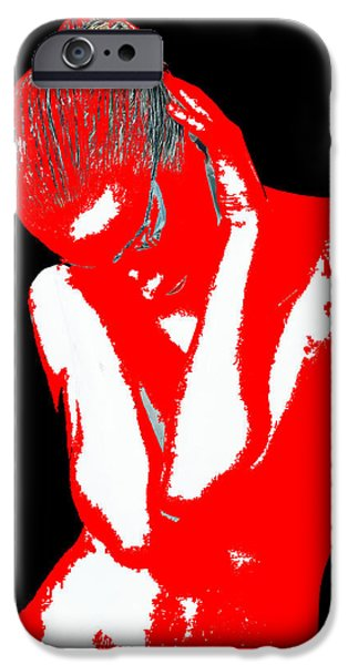 Earrings iPhone Cases - Red Black Drama iPhone Case by Naxart Studio