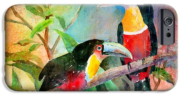 Toucan iPhone Cases - Red-breasted Toucans iPhone Case by Arline Wagner