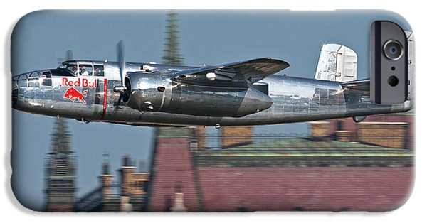 North American Aviation iPhone Cases - Red Bull North American B-25j Mitchell iPhone Case by Anton Balakchiev