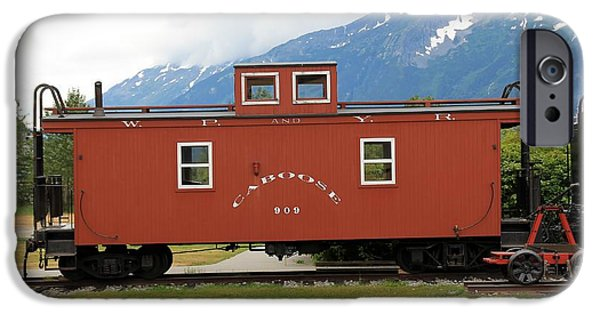 Caboose Photographs iPhone Cases - Red Caboose iPhone Case by Sophie Vigneault
