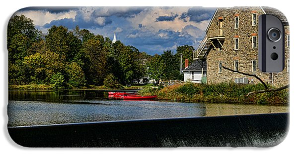 Red Canoe iPhone Cases - Red Canoes at the Boathouse iPhone Case by Paul Ward