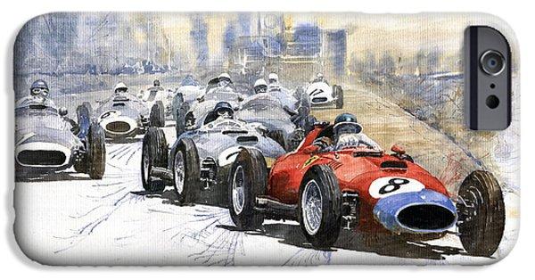 Vintage Sport Cars iPhone Cases - Red Car Ferrari 801 German GP 1957  iPhone Case by Yuriy  Shevchuk