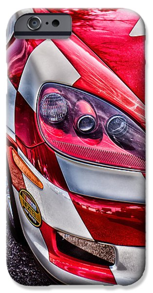 Indy Car iPhone Cases - Red Corvette iPhone Case by Lauri Novak