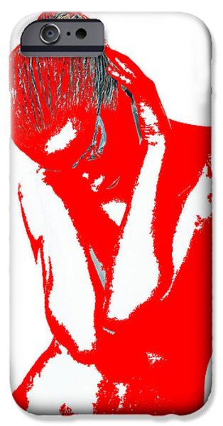 Earrings iPhone Cases - Red Drama iPhone Case by Naxart Studio