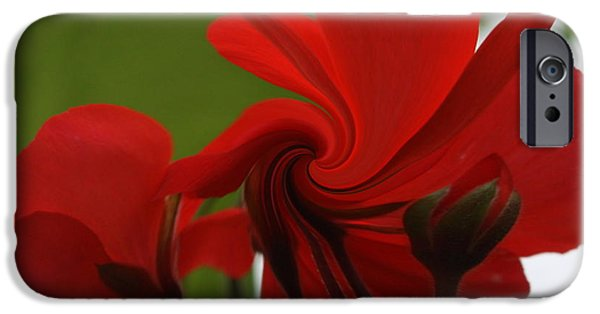 Red Geraniums iPhone Cases - Red Geranium Abstract iPhone Case by Marjorie Imbeau